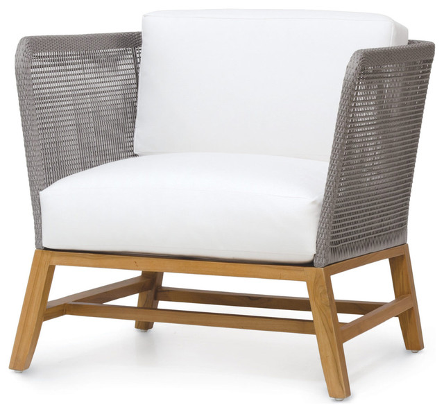 serena modern gray rope woven teak outdoor lounge chair, salt