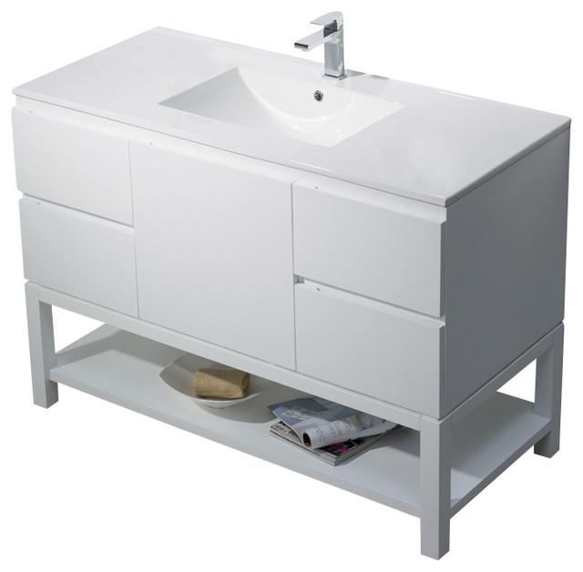 Vanity emmet 49 with integrated white porcelain bathroom for Quartz integrated sink
