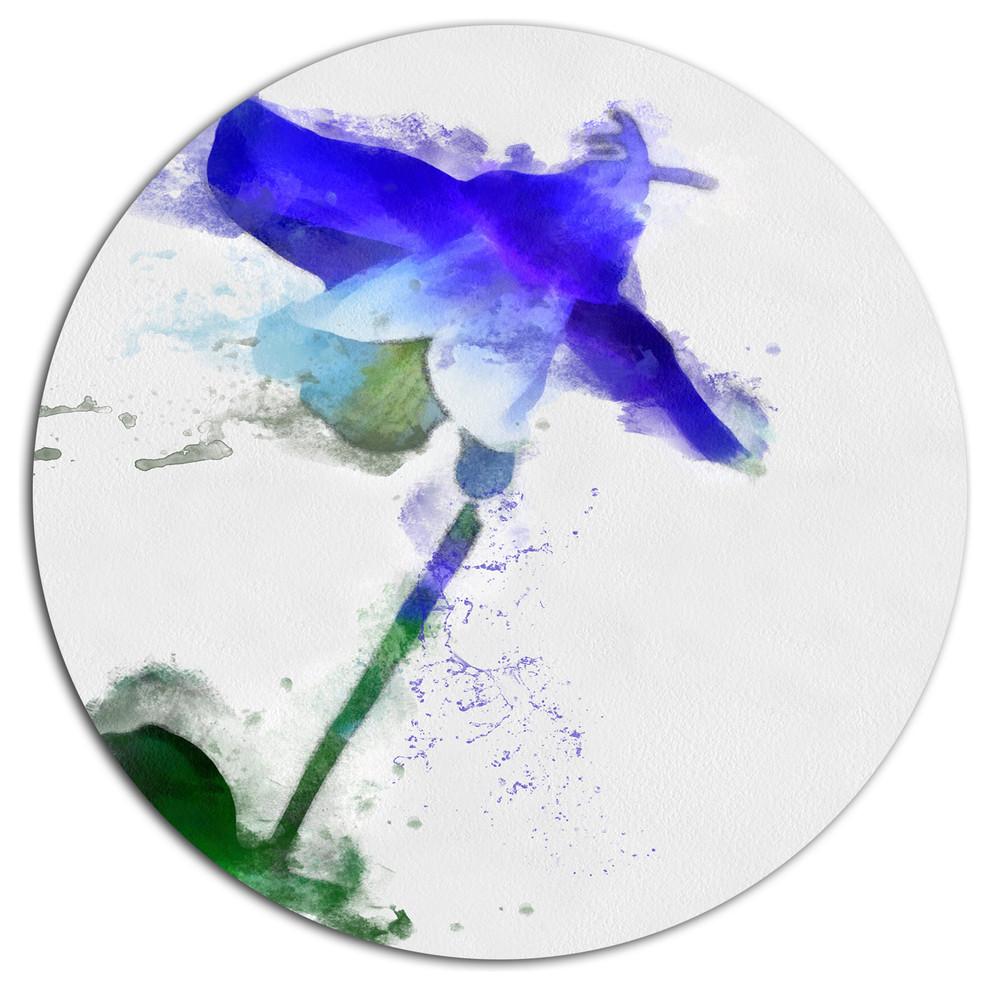 Watercolor Fl Round Metal Wall Art