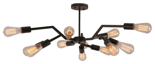 Antique Black Steel Semi-Flush Mount Ceiling Light.
