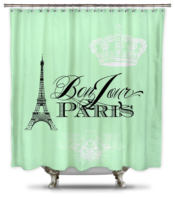 Catherine Holcombe Bonjour Paris Mint Green Fabric Shower Curtain, Standard  Size Contemporary Shower   Contemporary Shower Curtains