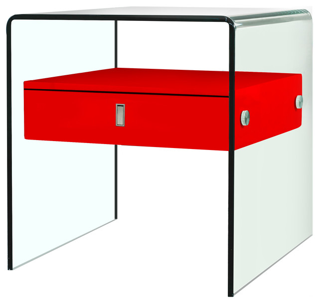 Florence Glass Nightstand, Red.