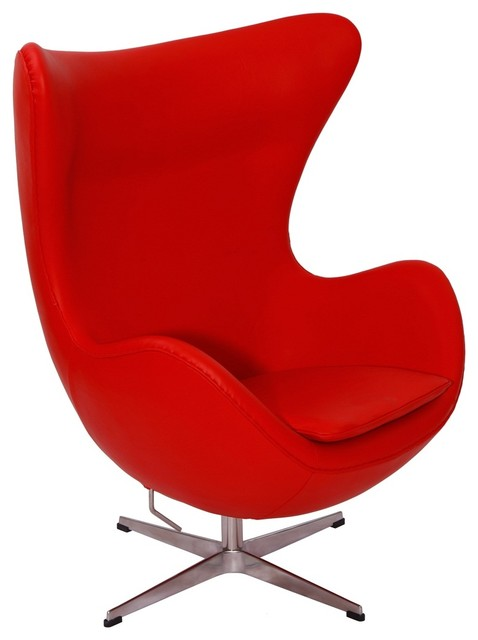 Beau Modern Egg Chair, Red, Material: Aniline Leather