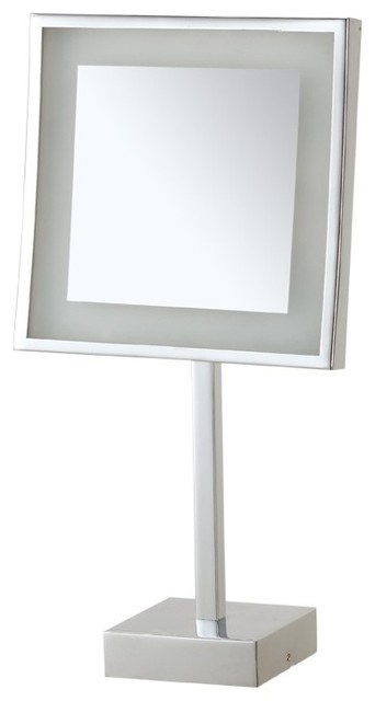 Square Lighted 3x Makeup Mirror In Chrome Finish - Contemporary ...