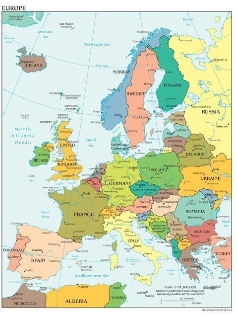europe map, political, peel & stick removable wall decal