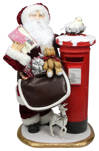 "24"" Decorative Santa Claus With Satchel And Mailbox Christmas Decoration."