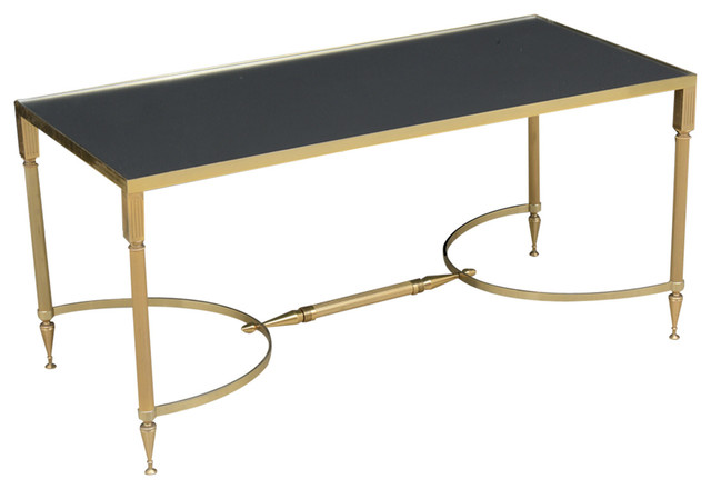 vintage french brass glass top coffee table modern coffee tables miami
