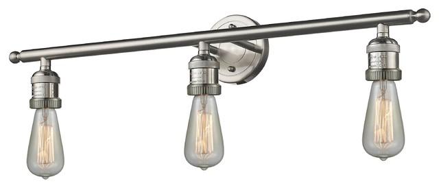 "Satin Nickel Ceiling Lights Bathroom Vanity Chandelier: Brushed Satin Nickel 3-Light Bare Bulbs 30"" Bath"