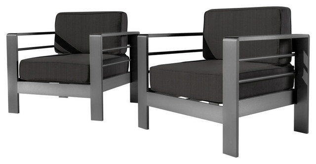 Gdf Studio Crested Bay Outdoor Gray Aluminum Club Chairs