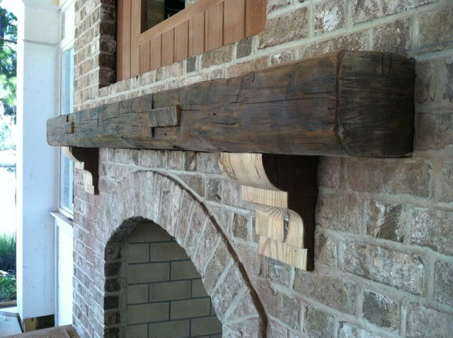 Reclaimed Fireplace Mantel Contemporary Exterior