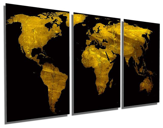 Black And Gold World Map Metal Print Wall Art 3 Panel Split