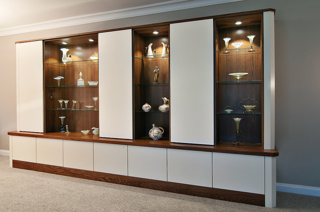 Conquest Bespoke Cabinets Wood and White, Glass Shelves