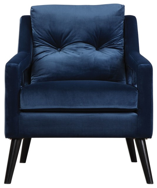 Good Retro Dark Blue Velvet Arm Chair, Vintage Plush Deep Danish
