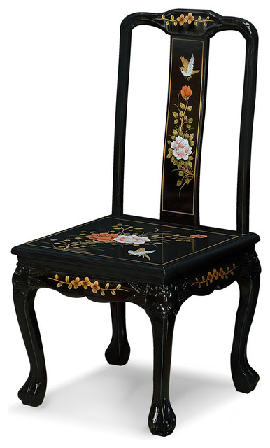 Charmant Hand Painted Black Lacquer Chinese Peony Design Chair