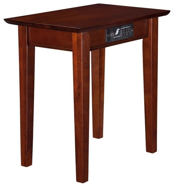 Atlantic Furniture Anderson Rectangular End Table In Walnut  Transitional Side Tables And