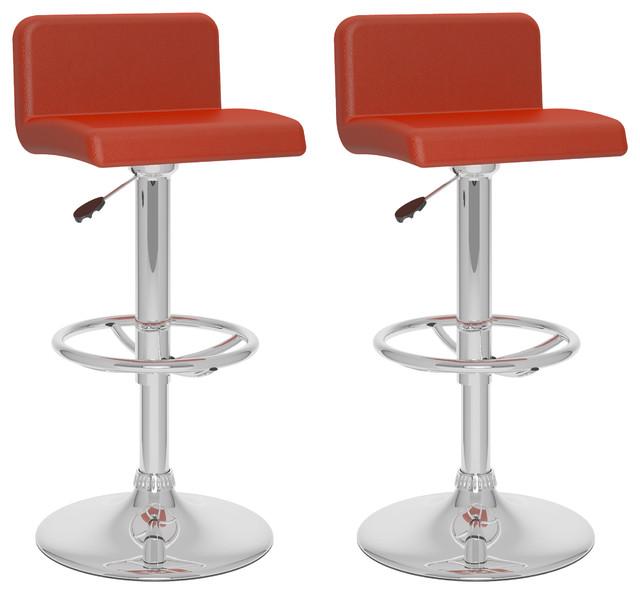 low back adjustable bar stools red leatherette set of 2