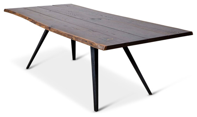 Raine Rustic Lodge Oak Black Dining Table, 82.75W Rustic Dining Tables