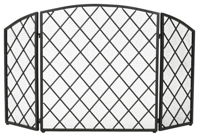 Angella 3-Paneled Iron Fireplace Screen, Black.