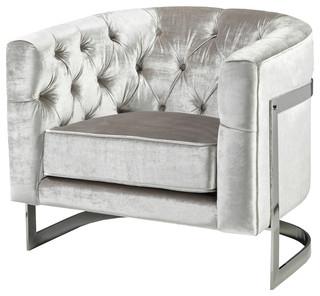 Calabasas Tufted Velvet Armchair, Silver