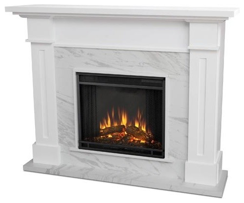Kipling Electric Fireplace, White Faux Marble.