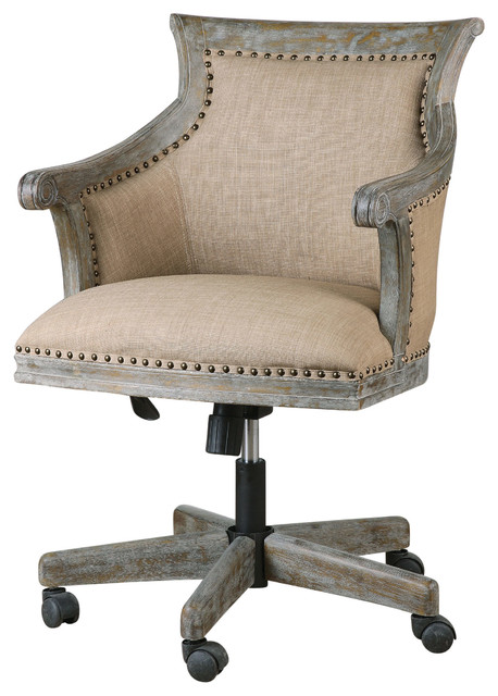 beige linen rolling chair industrial exposed wood - Rolling Chair