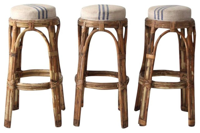 Consigned Vintage Rattan Bar Stools Set Of 3