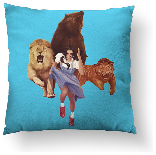 "Lion Tiger Bear Throw Pillow, 14""x14"", Stuffed"