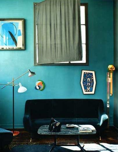 Need help with aqua blue paint for vintage mcm living room for Aqua blue paint for walls