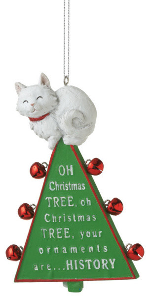 oh christmas tree ornament xmas cat bells funny holiday gift decoration - Funny Christmas Tree Ornaments