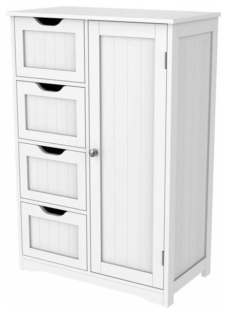 Free Standing Storage Cabinet, MDF With White Finish, 3-Inner Shelf, 4-Drawer