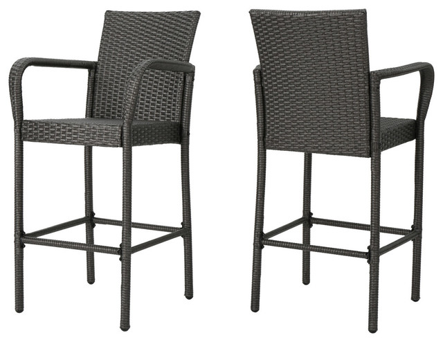 Dunedin Outdoor Gray Wicker Barstools Tropical Outdoor