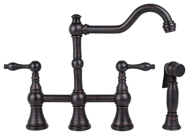 Two Handle Kitchen Bridge Faucet With Sprayer Oil Rubbed