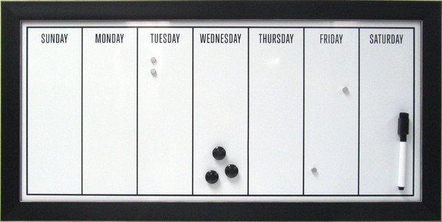 Wyeth Black Framed Magnetic Dry Erase Board Weekly