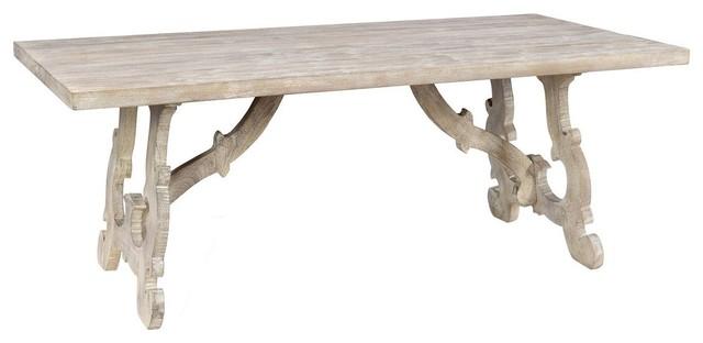 Elena White Washed Wood Dining Table
