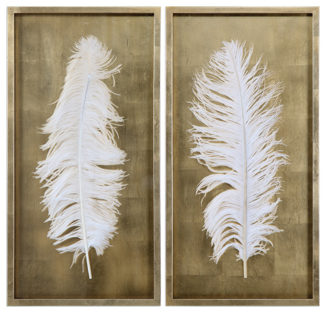 "Uttermost Feather Shadow Boxes, Set of 2, Gold and White, 17.13""x33.63"""