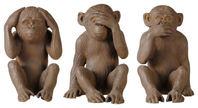 3 statuettes singes en résine marron H 40 cm GANDHI