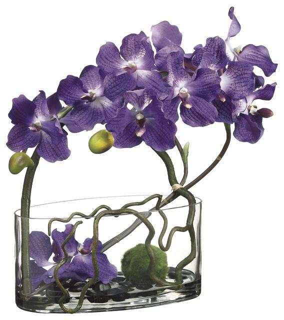 Purple Vanda Orchids With Twigs In Water Garden Glass Vase