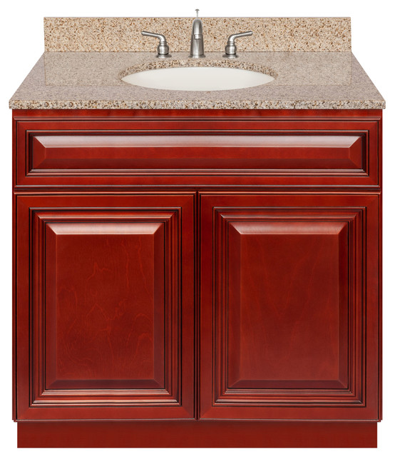 Cherry Bathroom Vanity 36 Wheat Granite Top Faucet Lb4b Traditional Bathroom Vanities And Sink Consoles By Aaadistributorcom Houzz