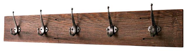 5 Hooks Reclaimed Barn Wood Coat Rack 36