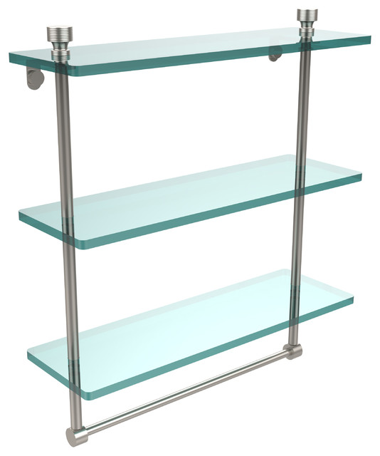 16 Triple Glass Shelf With Towel Bar Satin Nickel Contemporary Bat