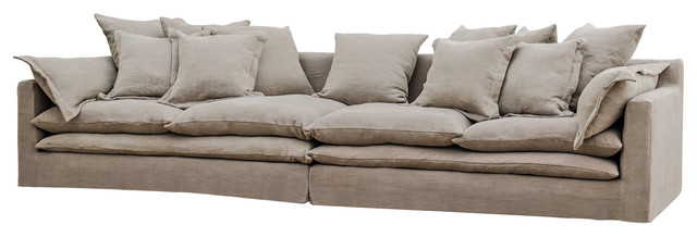 Donatella Coastal Beach Gray Sand Loose Pillow Sofa Beach Style Sofas
