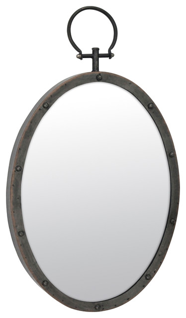 Metal Oval Mirror With Ring And Rivet Trim.
