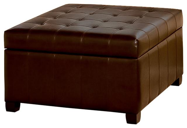 Gdf Studio Lyncorn Leather Storage Ottoman Coffee Table