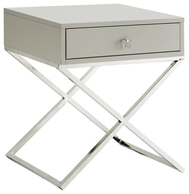 Viviane X-Leg Side Table, Light Gray Top, Chrome Frame.