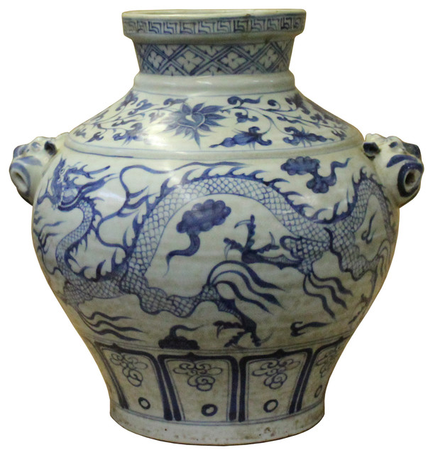 Chinese Small Blue White Porcelain Graphic Fat Body Vase Jar Hws183