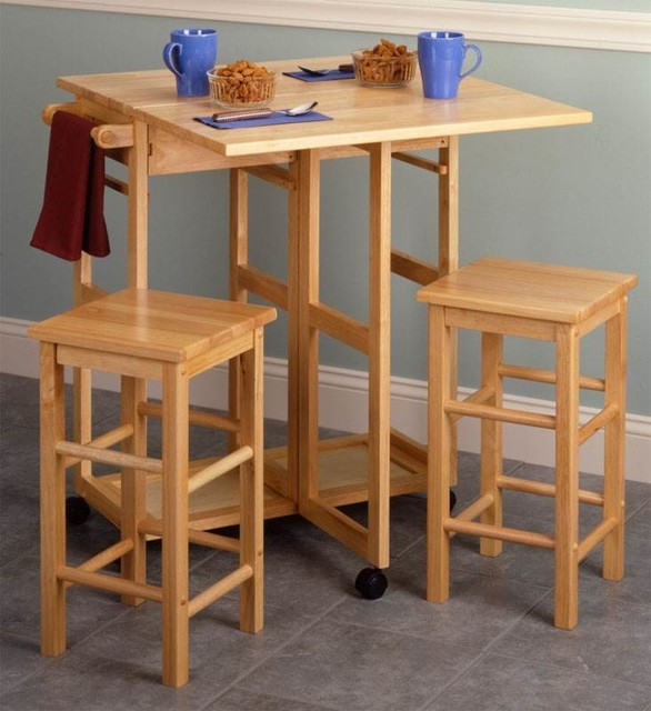 Breakfast Bar Cart With Two Square Stools.