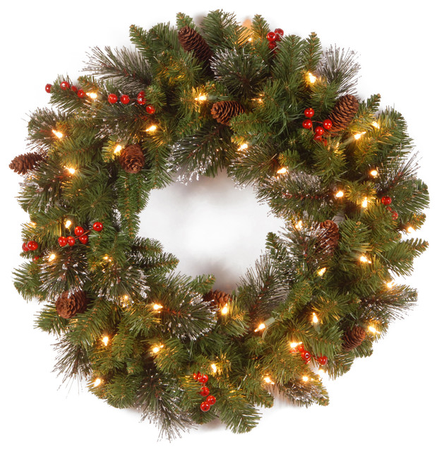"""24"""" Crestwood Spruce Wreath With Clear Lights."""