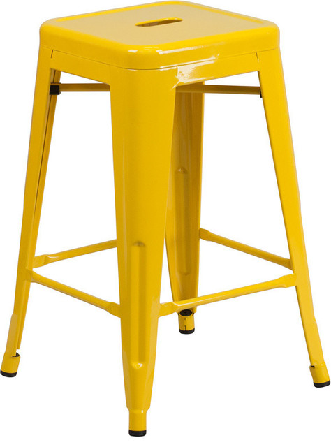 "24"" High Backless Yellow Metal Indoor-Outdoor Counter H Stool"