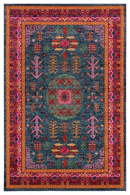 Anika Traditional Teal, Aqua Area Rug, 7&x27;10x10&x27;3.