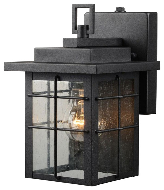 1-Light Small Outdoor Photocell Wall Lantern, Textured Black, Clear Seedy Glass.